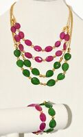 """Vintage Lot of 2 Pink & Green Glass Faceted Double Necklace & Bracelet  20"""""""
