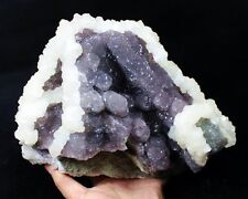 Powerful Calcite on Purple Fluorite display mineral Specimen China CM570133