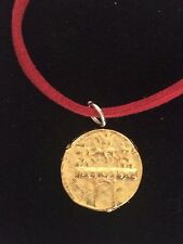 """Aureus Of Cladius Coin WC31 Gold Made From Pewter On 18"""" Red Cord Necklace"""