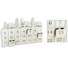 Precioso Madera LED Invierno Escena Shabby Chic Advent Calendario mas Decoración