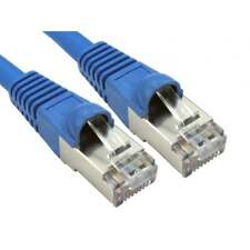 Ethernet Cable CAT 6a Shielded Snagless Patch Network Lead BLUE SHORT 25cm RJ45