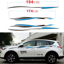 Car SUV Sports Racing Vinly Decals Stripe Side Door Panel Sticker Black + Blue