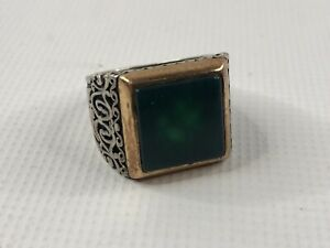KAR Green Stone 925 Sterling Silver Men's Ring Size 8.5
