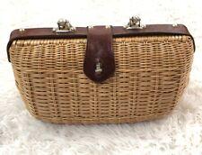 Vintage Wicker Rattan Handbag Crown Colony of Hong Kong Summer Beautiful