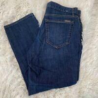 """Eddie Bauer Womens Size 2 Boyfriend Fit Cropped Leg Blue Jeans 24"""" Inseam EUC"""