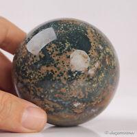 399g 68mm Natural Ocean Jasper Quartz Crystal Sphere Healing Ball Chakra Decor