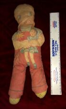 """RARE Antique Patsy Girl Doll stuffed PLUSH all CLOTH 1940's w/ ponytails 14"""""""