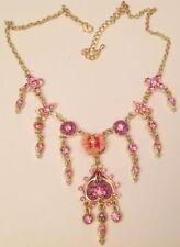 collier moderne couleur or déco floral pampille cristaux rose émail 5352