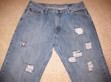 Nautica Distressed Denim Blue Jeans Pants Relaxed Fit Straight Leg men 34x30