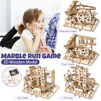 Marble Run Game DIY Waterwheel Coasters 3D Wooden Model Creative Steampunk Toy
