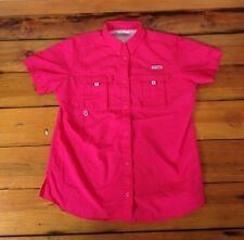 "Columbia Sportswear Performance Fishing Gear Bright Pink Nylon Women Shirt M 44"""