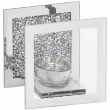 Multi type Crystal SINGLE Tealight Candle Holder Mirror Crystal  Silver Sparkle