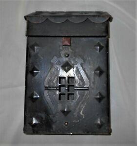 Vintage Ornate Heavy Steel Metal Wall Mount Mailbox Diamond Pattern