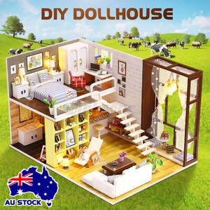 Kid 3D DIY Handicraft Wooden Doll House Toy Miniature Kit Dollhouse LED Light AU