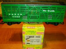 VINTAGE LGB 4068 D&RGW Rio Grande Green Cattle Stock Car Yellow Box.