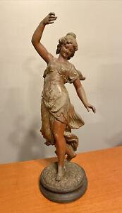 """Antique Cast Spelter Art Nouveau Statue Girl Maiden 19"""" Original Paint AS IS"""