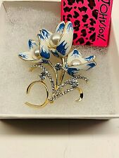 Betsy Johnson Beautiful Colorful Faux Pearl Enamel Rhinestone Flower Brooch
