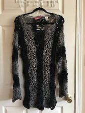 MISS SIXTY Wool Gray and Black Striped Crochet w/ Silver Shimmer  Knit Sweater M