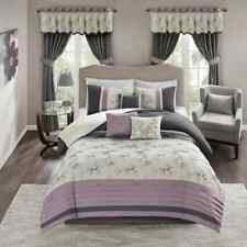 SEALED Madison Park 7-pc Comforter Complete Set - Purple White Floral - KING