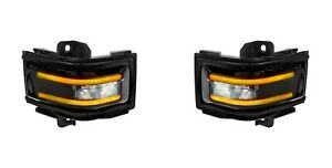 2017-2018 Ford Super Duty Truck RECON Smoked Side Mirror Lenses Amber LED Lights