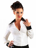 Honour Women's Shirt Blouse in PVC White Shaped Hem Top Fetish Wear