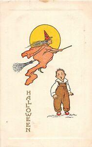 H12/ Halloween Postcard c1910 Flying Witch Broom Child Moon 10