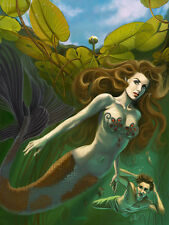 Signed Little Mermaid & Prince Fairy Tales Fantasy 13x17 Artwork Reproduction