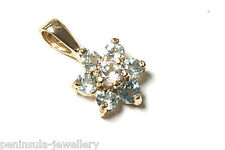 9ct Gold Blue Topaz Cluster Pendant Gift Boxed Made in UK