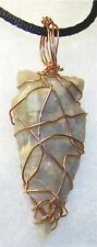 UNIQUE HAND-CRAFTED COPPER WIRE-WRAPPED CARVED AGATE ARROWHEAD PENDANT 2-1/4 IN