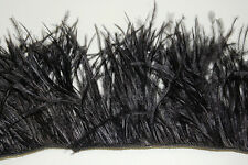 "36"" OSTRICH FEATHER FRINGE - BLACK 3-6"" Craft/Pad/Trim"