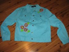 WOMENS XL LIGHTHOUSE CASUAL JEAN JACKET COAT BLUE AQUA TURQUOISE