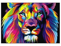 CANVAS Banksy Street Art Print RAINBOW LION PAINTING  wall decor