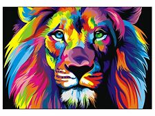 Canvas Banksy Street Art Print RAINBOW LION Painting 120cm x 100cm not framed