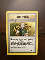 LT SURGE Trainer Card Holo With Swirl Pokemon Card 17/132 Gym Heroes!