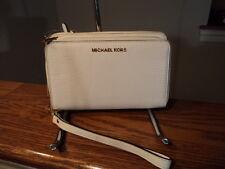 Kors Adele Large Flat Multifunction Phone Case Wallet Optic White NWT $168