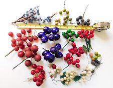 Vintage Millinery Flower Fruit Berries Lot Picks Trims Plums Grapes