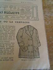 """PATRON ORIGINAL POUR LA POUPEE BLEUETTE """"VAREUSE POUR LE PLAGE  JUIN 1913"""