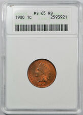 1900 1C Indian Head Cent ANACS MS 65 RB Uncirculated Red Brown Old Holder !