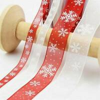25 Yards/Roll Red Ribbon Happy Merry Christmas Decoration Gift Wrapping 25MM
