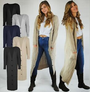 LADIES LONG LENGTH MAXI CARDIGAN BUTTON UP W POCKETS CABLE KNIT DESIGN SLIM FIT