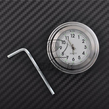 "7/8"" 1"" Motor Chrome Waterproof White Dial Handlebar Clock Glow Watch For Harley"