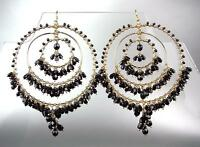 GORGEOUS Black Onyx Crystal Beads Round Gold Chandelier Dangle Earrings 4065BK