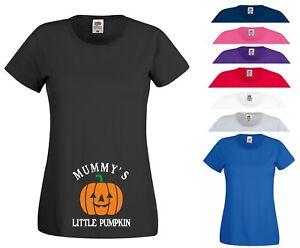 Mummy's Little Pumpkin T Shirt Maternity Funny Joke Halloween Gift Women Tee Top