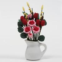 Miniatur1:12 Puppenhaus  Pflanzen Tulpen Blume mit Rose Keramik Topf Zimm 7 Q6F8