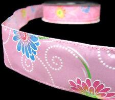 "2 Yds Daisy Flowers Swirls Spirals Wired Ribbon 1 1/2""W Pastel Pink Yellow"