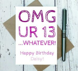 teenage girl birthday card - any name added - any age - text speak - OMG card