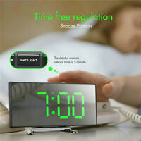 Mirror LED Digital Alarm Clock Thermometer Dimmer Night Light USB Charging Home