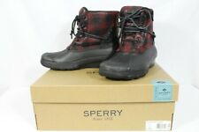 SPERRY Saltwater Wedge Tide Women's Duck Boots Black Red Plaid NEW NIB Size 5.5