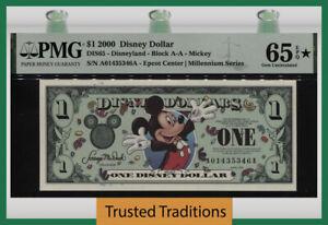TT 2000 DISNEY DOLLAR $1 MICKEY & EPCOT HAPPIEST NOTE ON EARTH PMG 65Q STAR GEM!