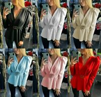 Women Ladies Double Ring Padded Shoulder Puff Sleeve Wrapover Peplum Belted Top